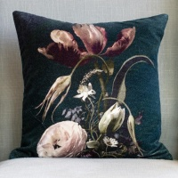 Vintage Flowers Velvet Cushion by Grand Illusions